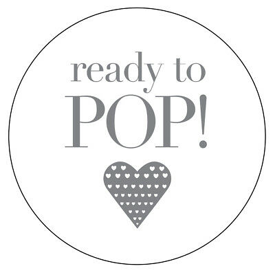 48 x READY TO POP HEART GLOSSY MATT NON Personalised Stickers Party Bag Box 58