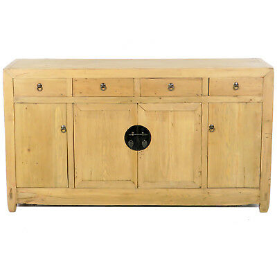 """Antique Chinese Asian 59"""" Long Sideboard Buffet Cabinet Natural Finish Pine"""