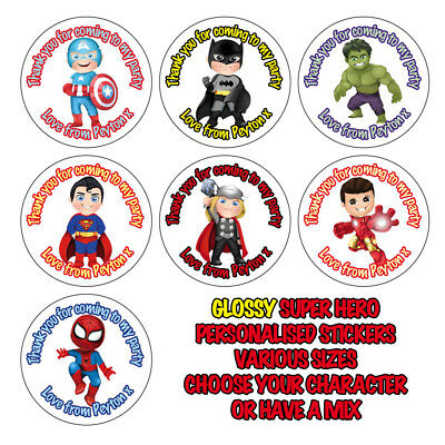 Personalised GLOSS Kids Super hero Stickers Birthday Party Bag Thank You 842