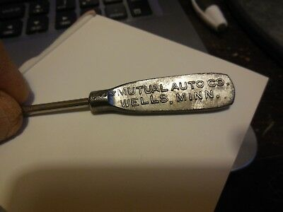 Old MUTUAL AUTO CO. of WELLS MINN. ADVERTISING SCREWDRIVER - FREE SHIP