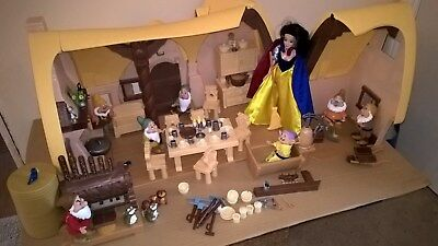 Disney Snow White and Seven Dwarf Play Cottage with Dolls and Accessories Bundle