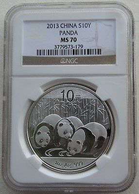 NGC MS70 China 2013 Panda Commemorative Silver Coin 1oz 10 Yuan