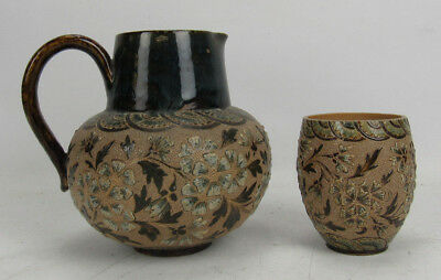 Doulton Lambeth 1882 Aesthetic Movement Pitcher Jug & Matching Piece Signed