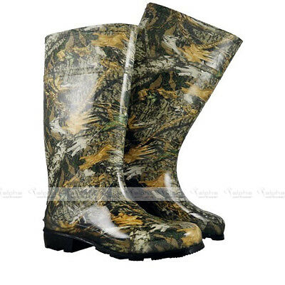 NEW Mens Camo Wellies Rain Waterproof Rubber Wellington Boots Forest Pattern