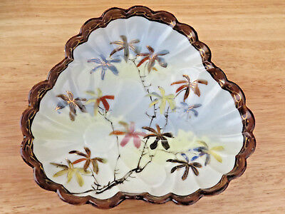 Antique Japanese Asian Chinese Porcelain Bowl Dish Plate UNUSUAL Signed Bamboo R