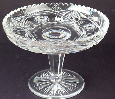 Antique Cut Crystal Compote Nut Dish Candy Bowl Footed Sawtooth Edge Brilliant R