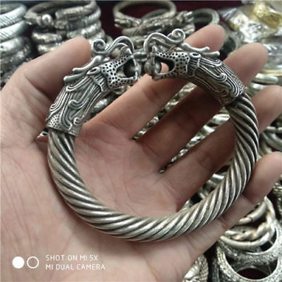 Collection China Tibetan silver Carved Double headed Dragon Silver Bracelet 05