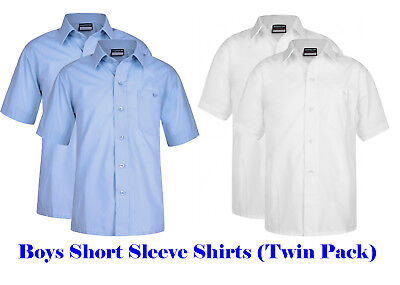 Blue Max Banner School Uniform  Boys Twin Pack Short Sleeve Shirt 911351
