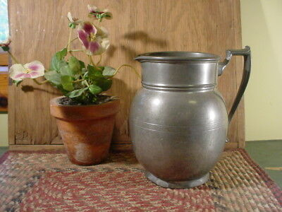Antique 2 Qt. Pilgrim Pewter Water Pitcher Signed Numbered