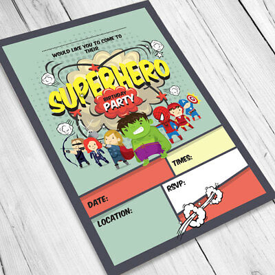 SUPERHERO BIRTHDAY PARTY Invitations Invites Children Boys Kids