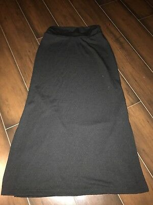 Cato Girls Solid Black Long Skirt Maxi Size Small Side Slit