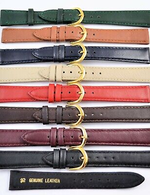 Mens Ladies Genuine Leather Watch Strap Band Colour Collection Sizes 8mm - 20mm