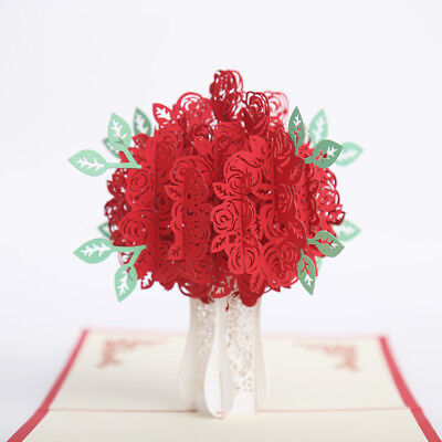 Handmade 3D Pop Up Greeting Card Rose Flower Love Tree  Birthday Anniversary