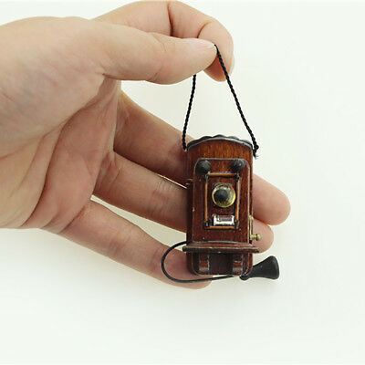 Vintage Wooden Wall Hanging Miniature Telephone Kids Toy Dollhouse Decor Braw