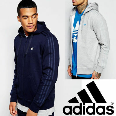 ADIDAS ORIGINAL ZIP Hoodie Mens Trefoil Logo Sports Fleece Hooded Sweatshirt