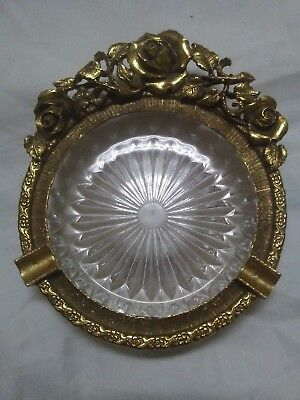 Vintage Matson Gold Finish Ormolu Roses Vanity Dish/Ashtray