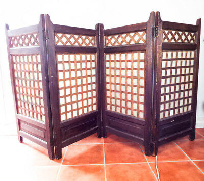 Original Wooden Screen Room Divider Four Panel Arts & Crafts Abalone Shell 1910s