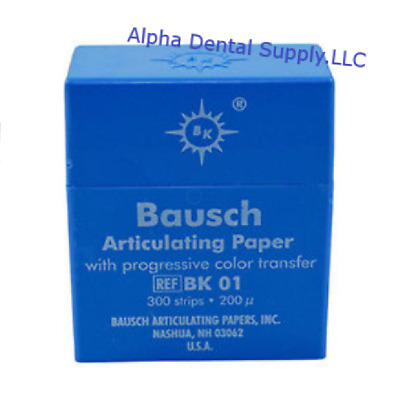 Bausch Dental Articulating Paper Double Sided Blue BK 01 300/Strips 200 Microns