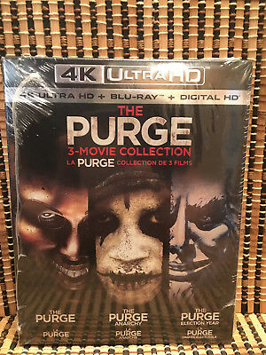The Purge Trilogy 4K (6-Disc Blu-ray)+Slipcover.Anarchy/Election Year.Lena Heady