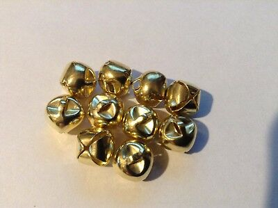 10 x 10mm Gold Jingle Bells ideal for sewing, Crafting and Scrapbooking.