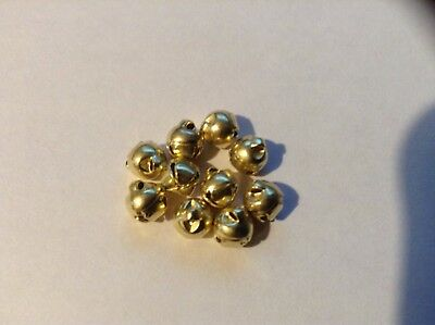 10 x 6mm Gold Jingle Bells ideal for sewing, Crafting and Scrapbooking.