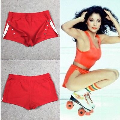Vintage 70's Size Medium Bright Red Side Snap Up Booty Shorts Roller Derby Girl