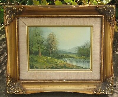 Lovely Vintage Oil on Board  LANDSCAPE - LAKE SCENE   ref.138