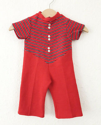 Vintage Baby Kids Boho 60s 70s French Nautical Red Blue Romper Jumpsuit 0-6 M