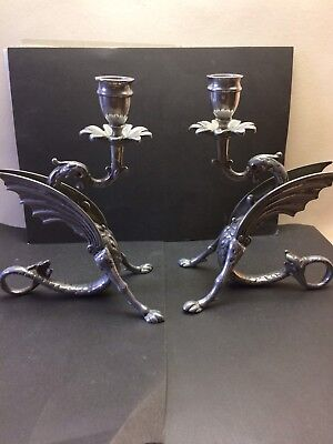 Old Unusual Gothic Revival Dragon Pheonix Mythical Ruby Eyes Candlesticks Rare