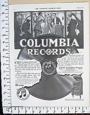 1915 COLUMBIA GRAPHOPHONE Records & Grafonola phonograph Vtg Print Ad 3063