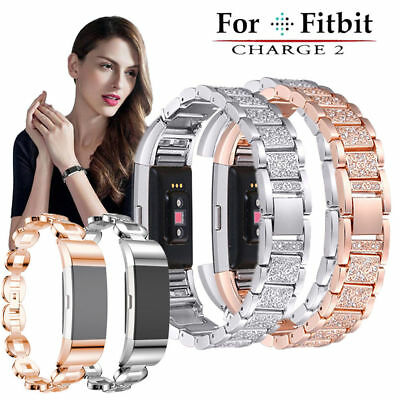 For Fitbit Charge2 Smart Watch Crystal Stainless Steel Watch Band Wrist Strap OW