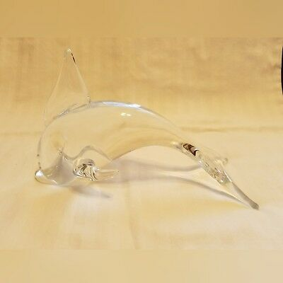 Clear Blown Glass Art Dolphin Figurine Marine Animal Collectible Signed