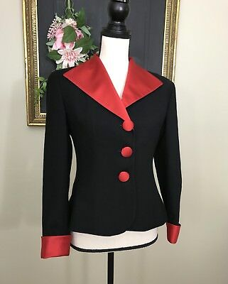 Womens Christian Dior Black Wool Blazer Red Lapel and Cuffs sz 6 Petites Holiday