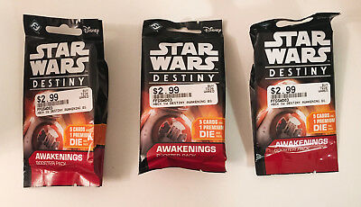 Star Wars Destiny Dice and Card Game Awakenings Booster Pack FFGSWD03 LOT of 3