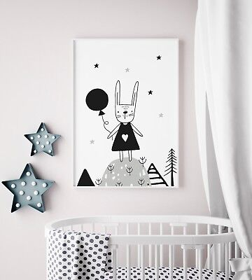 Scandinavian Rabbit Nursery Art For Boys / Girls Bedroom / Kids Scandi Decor