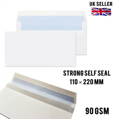 100x STANDARD ( DL ) NO WINDOW ENVELOPES LETTER WHITE SIZE MAIL POST SELF SEAL