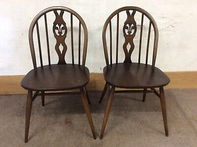 Pair Of Vintage ERCOL Windsor chairs with the Fleur de Lys design (model 371)