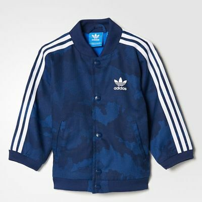 adidas Originals boys infant navy TKO lined jacket. 6-9M, 9-12M & 4-5Years