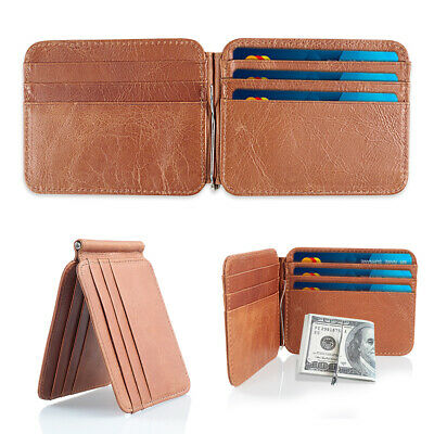 Slim Thin Mens Leather Wallet Money Clip Credit Card ID Holder Front Pocket