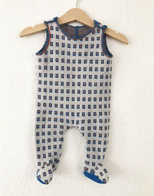 VTG 70s Baby French Orange Blue White Abstractl Romper Playsuit Jumpsuit 0-3 M