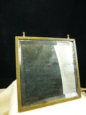 Antique Brass Frame Travel Shaving Mirror with Bevel - Asian paper backing