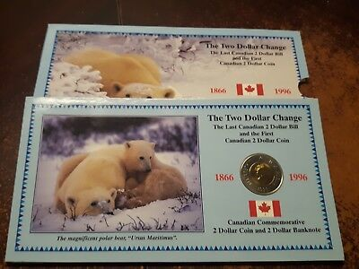 1996 Canada  $2 banknote+ Two Dollar Coin -set - Toonie  Planchet