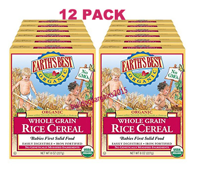 Earth's Best Organic Infant Cereal, Whole Grain Rice, 8 Oz (Pack of 12)