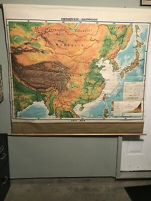 Vintage East Asia 1974 Pull Down School Geography Map Display #34