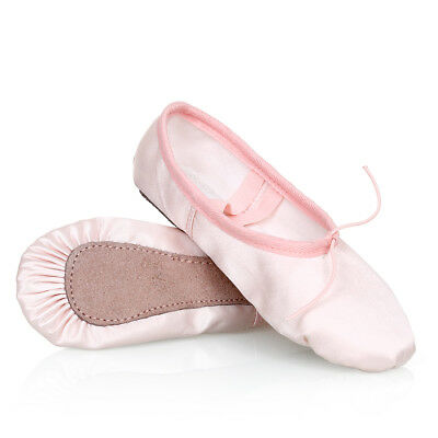 Girls Pink Satin Ballet Dance Shoes Full Sole Gymnastics Shoes Flats