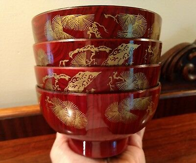 Japanese Red Lacquer Wooden Rice Bowls Vtg Set of 4 Gold Gilt Bamboo Ginko Trees