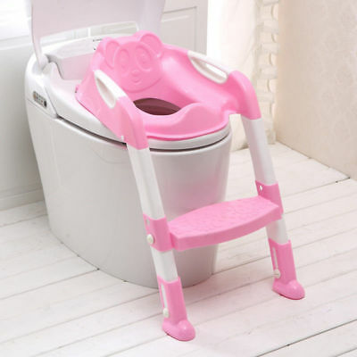 Baby Toddler Potty Training Toilet Ladder Seat Steps Non-Slip Solid Grip - PINK