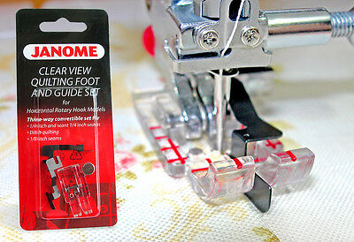 "JANOME CLEAR VIEW 1/4"" QUILTING + STITCH IN THE DITCH FOOT WITH 2 GUIDES 7mm"