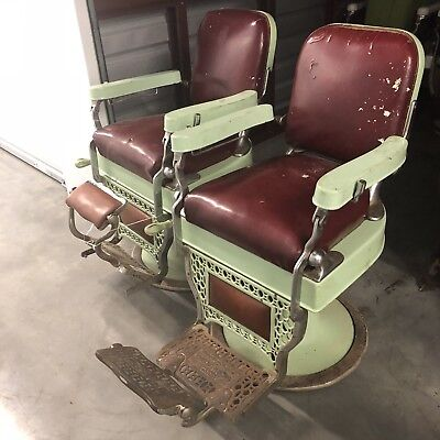 Theo A. Kochs Chicago Vintage Barber Chairs Matching Set