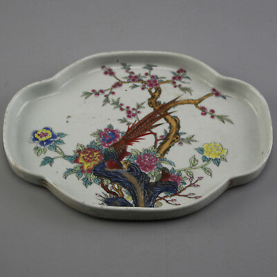 Chinese old hand-carved porcelain famille rose bird & flower pattern tea tray